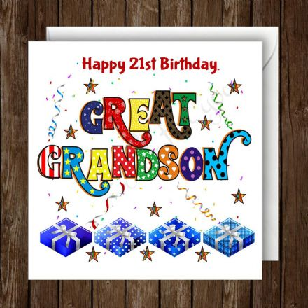 Personalised Great Grandson Birthday Card
